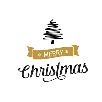 Christmas lettering with tree line drawing