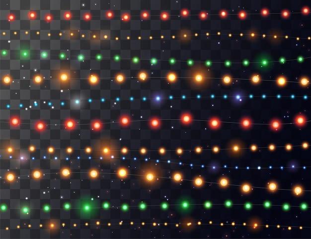クリスマスライト。明るい色の花輪。パーティー、お祝い、誕生日のお祝いのための装飾。