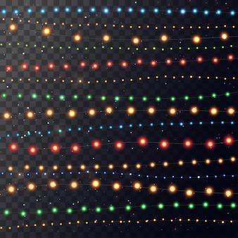 Рождественский свет. яркая цветная гирлянда. декор для вечеринки, праздника или празднования дня рождения.
