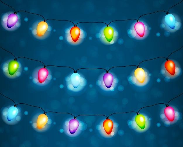 Рождественские лампочки гирлянды фон вектор