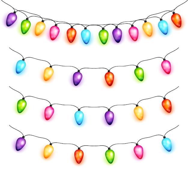 Рождественские лампочки гирлянды вектор