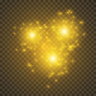 クリスマスライト効果。粒子のきらめき効果。透明な背景にベクトルがきらめく魔法のほこりの粒子がきらめきます。ほこりの火花と金色の星が特別な光で輝きます。