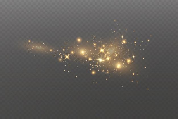 Рождественский световой эффект сверкающие волшебные частицы пыли искры пыли и золотые звезды сияют
