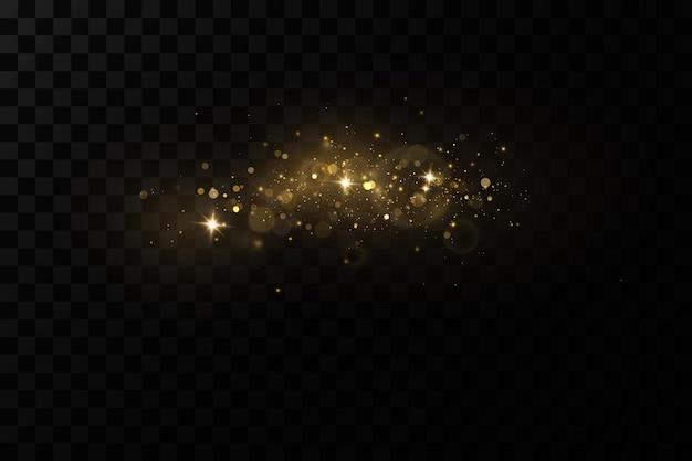 クリスマスライト効果きらめく魔法のほこりの粒子ほこりの火花と金色の星が輝く