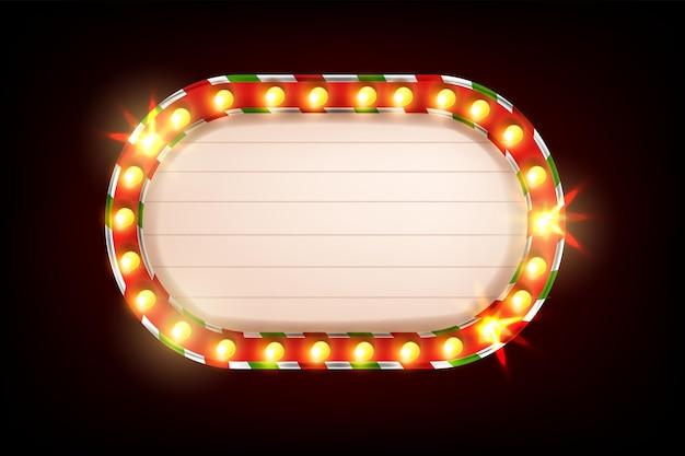クリスマスライトフレームベクトルレトロ電球サインバナーホリデーヴィンテージシネマショーラスベガスの看板