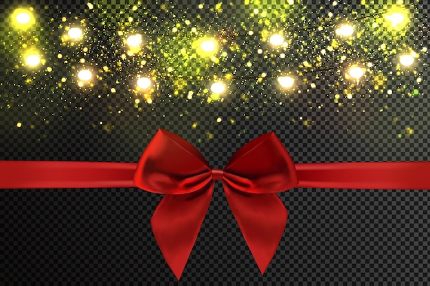 Christmas light garland and red ribbon