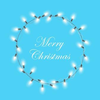 クリスマスライトガーランドリース。クリスマスクリスマスホリデーグリーティングカードベクターデザイン。メリークリスマスレタリング。