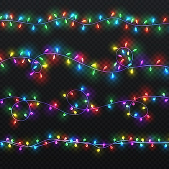 Christmas light garlands. xmas vector decoration with colorful lightbulbs isolated. bright christmas garland colorful illustration