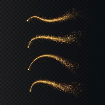 크리스마스 빛 휴가 혜성 마법의 반짝 빛 라인 축제 장식 요소입니다.