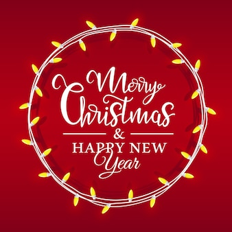 Christmas light is located in a circle, inside there is a holiday lettering on a red background. christmas card in flat style.