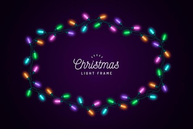 Christmas light realistic frame