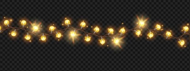 크리스마스 빛 문자열 화환 벡터 휴일 밝은 전구 크리스마스 축제 빛나는 장식