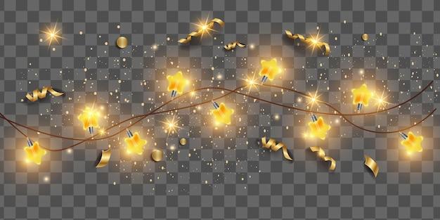 투명 한 크리스마스 배경에 크리스마스 빛 문자열 화 환 벡터 새 해 밝은 별 전구