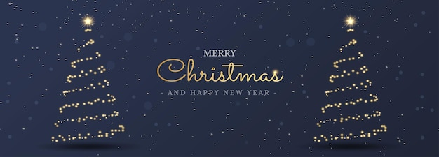 Christmas light tree holiday card banner background