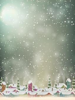 クリスマスライト、村、雪片の背景