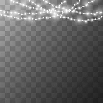 Christmas lights on a beautiful transparent background.