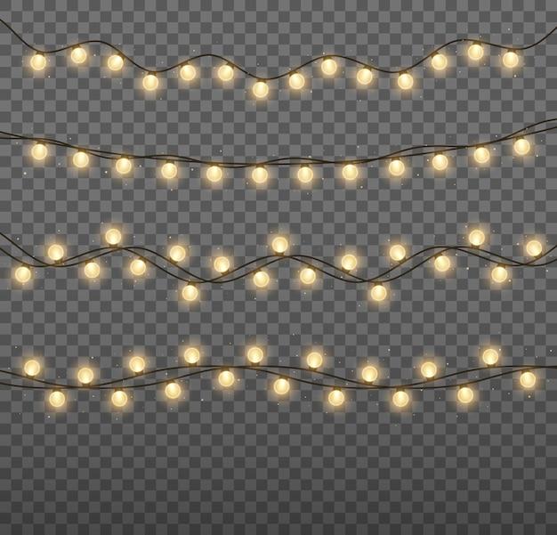 Рождественские огни яркая золотая гирлянда светящиеся лампочки для рождественских открыток