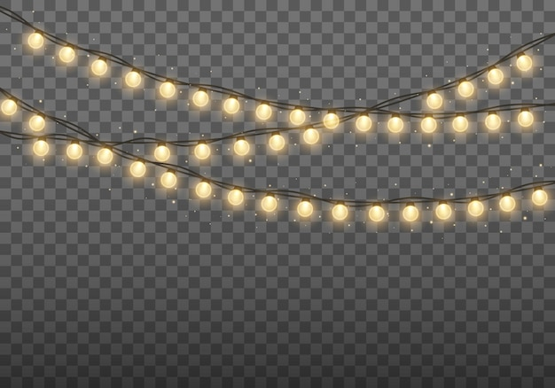 Christmas lights bright golden garland glowing bulbs for xmas cards