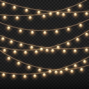 Christmas lights bright golden garland glowing bulbs
