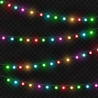 크리스마스 조명입니다. 다채로운 밝은 크리스마스 화환. 색상 화환, 빨강, 노랑, 파랑 및 녹색 발광 전구. 투명 한 배경에 네온 조명 led입니다. 벡터 일러스트 레이 션
