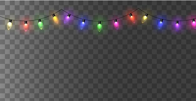 クリスマスのあかり。カラフルな明るいクリスマスの花輪。