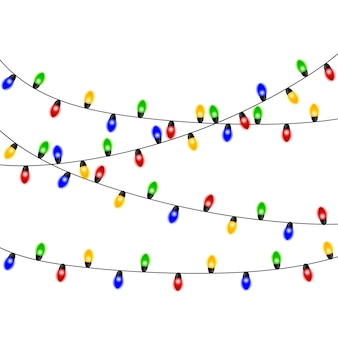 Christmas lights. colorful xmas garland. vector red, yellow, blue and green glow light bulbs on wire strings isolated. christmas decorations