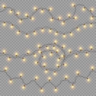 Christmas lights, decorations, garlands isolated on a transparent background. glowing lights.