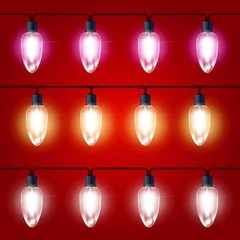 크리스마스 조명-전구가있는 축제 빛나는 화환