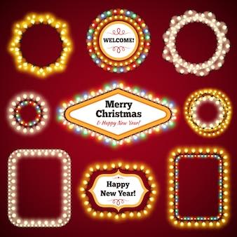 Рождественские огни с копией пространства set3 Premium векторы