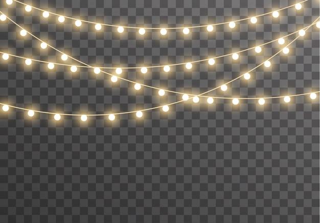Рождественские огни гирлянды, изолированные на прозрачном фоне