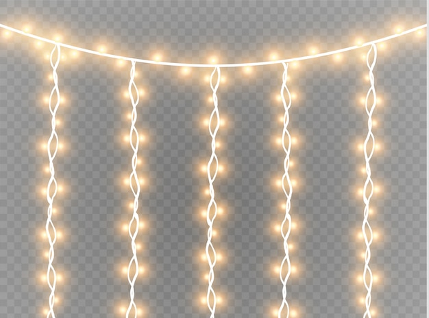 Christmas lights garland isolated realistic design elements. glowing lights