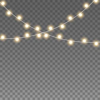 Christmas lights, garland on transparent.