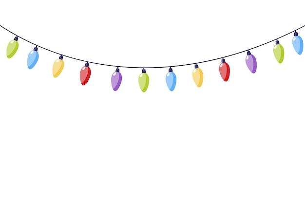 Christmas lights holiday garland with colored lights