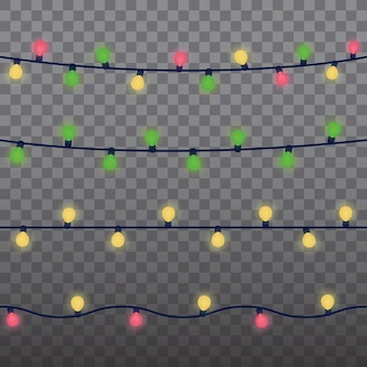 Christmas lights isolated design elements. glowing lights for xmas holiday greeting card design. garlands christmas, party, birthday decorations