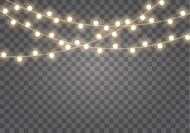 分離されたクリスマスライト。輝くガーランドはネオンランプを導いた。