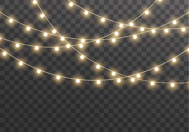 Christmas lights isolated. glowing garland led neon lamp