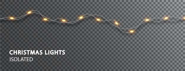 Luci di natale isolate. ghirlanda di luce led. decorazioni natalizie per decorare i disegni delle vacanze.
