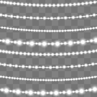 透明な背景に分離されたクリスマスライト。クリスマスの輝くガーランド。白い半透明の新年装飾ライト。ネオンランプを導いた。クリスマス休暇のための明るいライト。