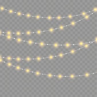 크리스마스 조명, 투명 한 배경에 고립입니다. 크리스마스 빛나는 갈 랜드. 흰색 반투명 새해 장식 조명. led 네온 램프. 크리스마스 휴가를위한 발광 조명