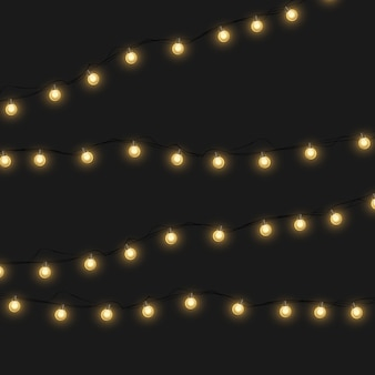 Рождественские огни, изолированные на прозрачном фоне. светящиеся гирлянды гирлянды.