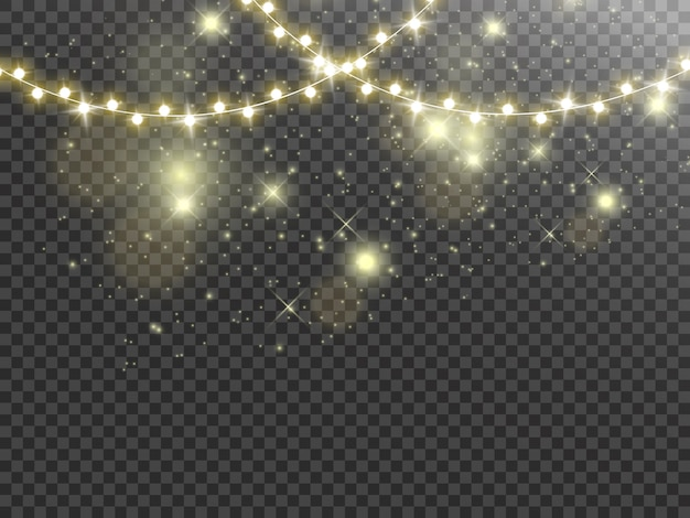 투명 한 배경에 고립 된 크리스마스 조명입니다. 밝은 화환.
