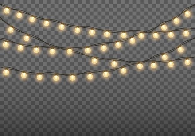 Рождественские огни, изолированные на прозрачном фоне рождественские светящиеся гирлянды.