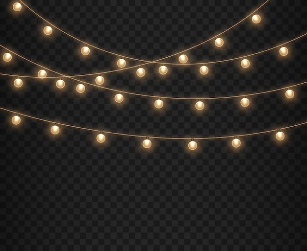 투명 한 배경에 고립 된 크리스마스 조명 크리스마스 빛나는 화환