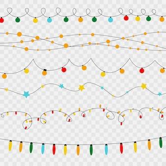 カード、バナー、ポスター、ウェブデザインの透明な背景に分離されたクリスマスライト。金色のクリスマスの光る花輪のセットledネオンランプベクトル図