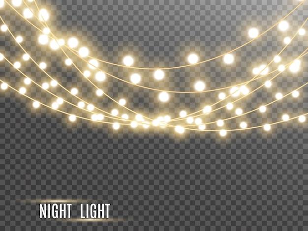 Рождественские огни, изолированные на прозрачном фоне. иллюстрация.