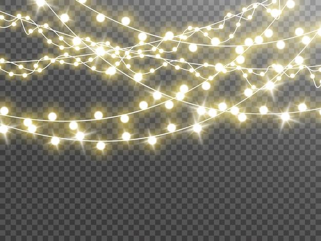 Рождественские огни, изолированные на прозрачном фоне. иллюстрация. Premium векторы