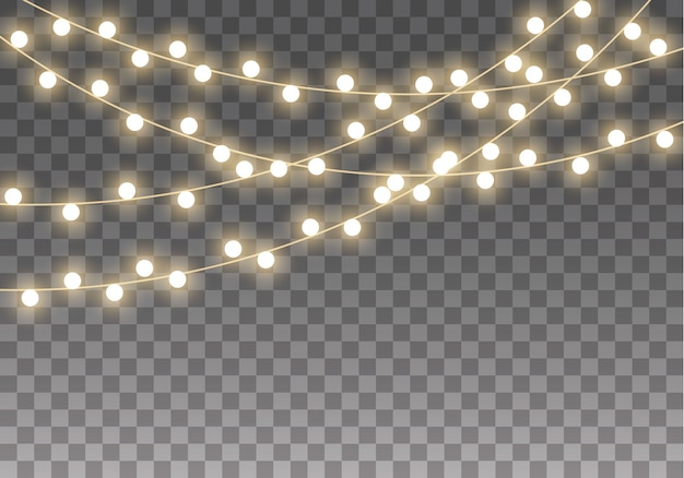 透明な背景に分離されたクリスマスライト。クリスマスの輝くガーランドランプのセットです。