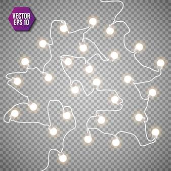 Рождественские огни, изолированные на прозрачном фоне. набор рождественских светящихся гирлянд.