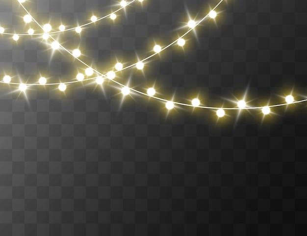 透明な背景に分離されたクリスマスライトベクトル図