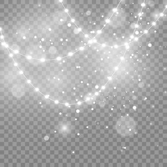 透明な背景に分離されたクリスマスライト。ベクトルイラスト。